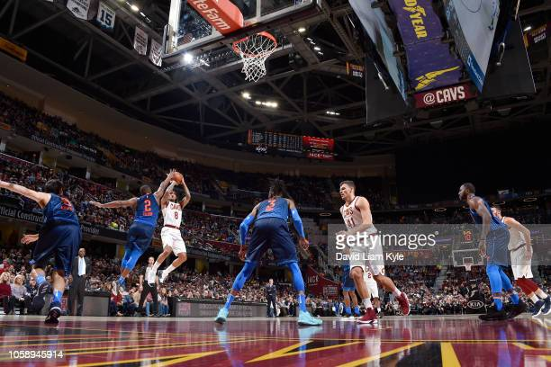 Jordan Clarkson of the Cleveland Cavaliers shoots the ball against the Oklahoma City Thunder on November 7 2018 at Quicken Loans Arena in Cleveland...