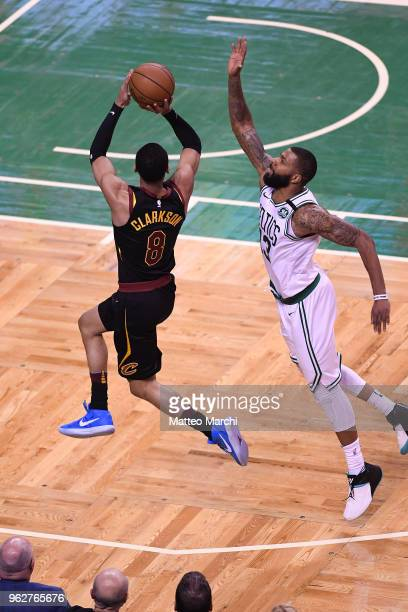 Jordan Clarkson of the Cleveland Cavaliers shoots the ball against Marcus Morris of the Boston Celtics during Game Five of the 2018 NBA Eastern...