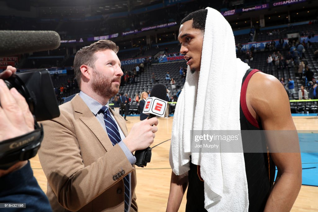 Jordan Clarkson #8 of the Cleveland Cavaliers speaks with media after the game against the Oklahoma City Thunder on February 13, 2018 at Chesapeake Energy Arena in Oklahoma City, Oklahoma.