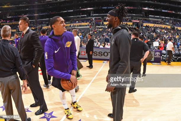 Jordan Clarkson of the Los Angeles Lakers and Briante Weber of the Houston Rockets talk before the game on December 3 2017 at STAPLES Center in Los...
