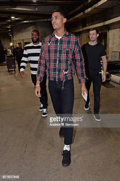 Jordan Clarkson of the Los Angeles Lakers arrives at the STAPLES Center before the game against the Golden State Warriors on November 4 2016 in Los...
