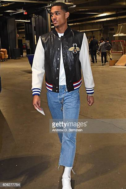 Jordan Clarkson of the Los Angeles Lakers arrives at the Staples Center before the game against the Golden State Warriors on November 25 2016 in Los...