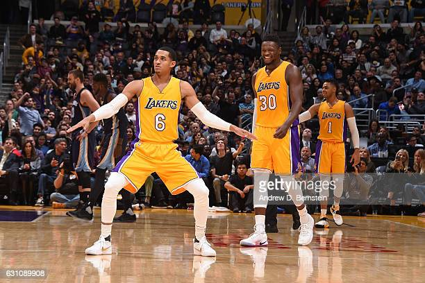 Jordan Clarkson of the Los Angeles Lakers dances during the game against the Memphis Grizzlies on January 3 2017 at STAPLES Center in Los Angeles...