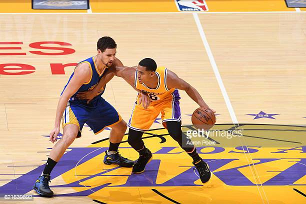 Jordan Clarkson of the Los Angeles Lakers dribbles the ball while guarded by Klay Thompson of the Golden State Warriors on November 4 2016 at STAPLES...