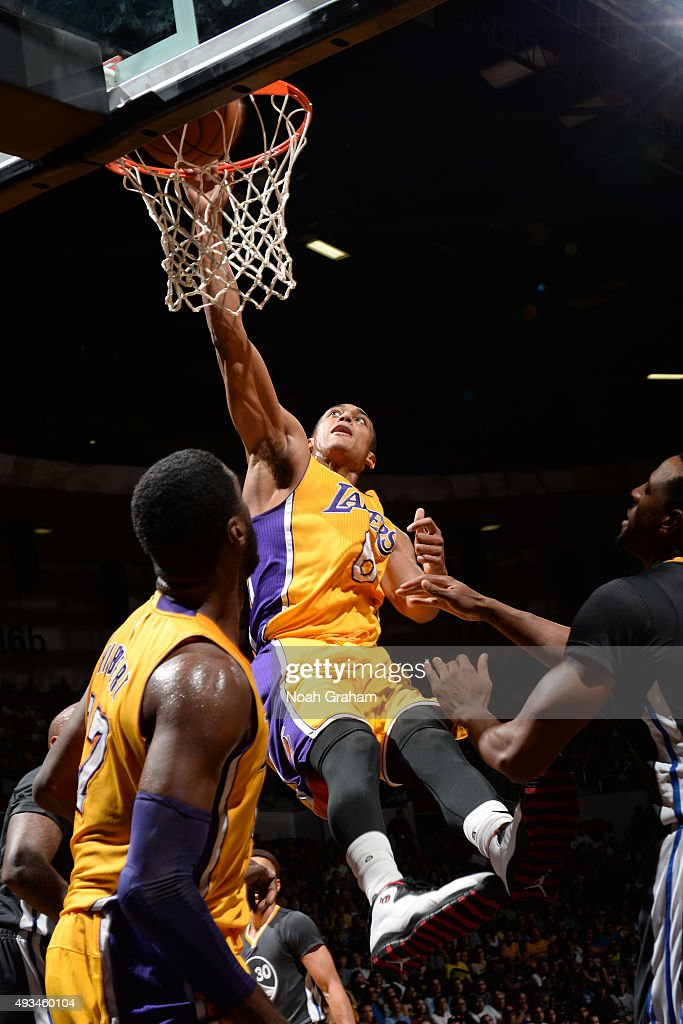 Jordan Clarkson #6 of the Los Angeles Lakers dunks the ball against the Golden State Warriors during a preseason game on October 17, 2015 at Valley View Casino Center in San Diego, California.