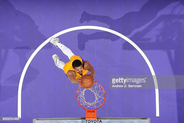 Jordan Clarkson of the Los Angeles Lakers goes up for a dunk against the San Antonio Spurs on November 18 2016 at STAPLES Center in Los Angeles...