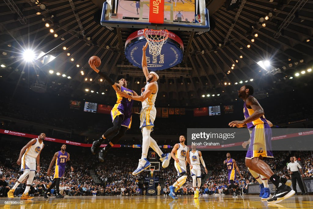 Jordan Clarkson #6 of the Los Angeles Lakers goes up for a lay up against the Golden State Warriors on April 12, 2017 at ORACLE Arena in Oakland, California.