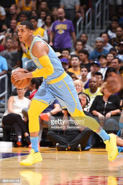 Jordan Clarkson of the Los Angeles Lakers handles the ball against the Washington Wizards on October 25 2017 at STAPLES Center in Los Angeles...