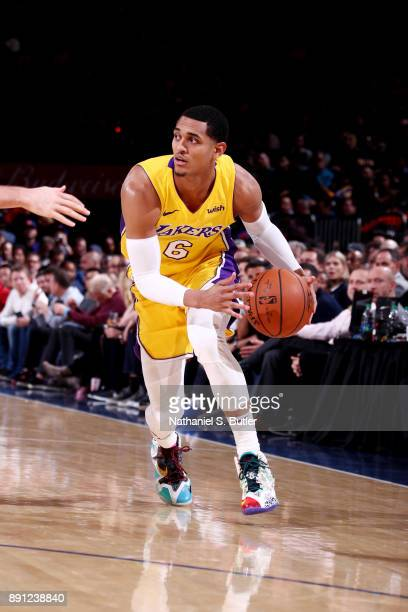 Jordan Clarkson of the Los Angeles Lakers handles the ball during the game against the New York Knicks on December 12 2017 at Madison Square Garden...