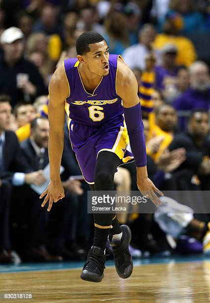 Jordan Clarkson of the Los Angeles Lakers reacts after making a shot against the Charlotte Hornets during their game at Spectrum Center on December...