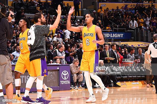 Jordan Clarkson of the Los Angeles Lakers reacts during the game against the San Antonio Spurs on November 18 2016 at STAPLES Center in Los Angeles...
