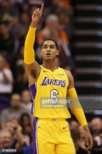 Jordan Clarkson of the Los Angeles Lakers reacts during the NBA game against the Phoenix Suns at Talking Stick Resort Arena on November 13 2017 in...