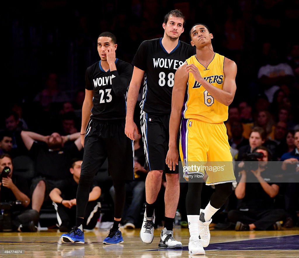 Jordan Clarkson #6 of the Los Angeles Lakers reacts in front of Nemanja Bjelica #88 and Kevin Martin #23 of the Minnesota Timberwolves after a missed free throw with less than a minute in the game at Staples Center on October 28, 2015 in Los Angeles, California. The Lakers lost 112-111.