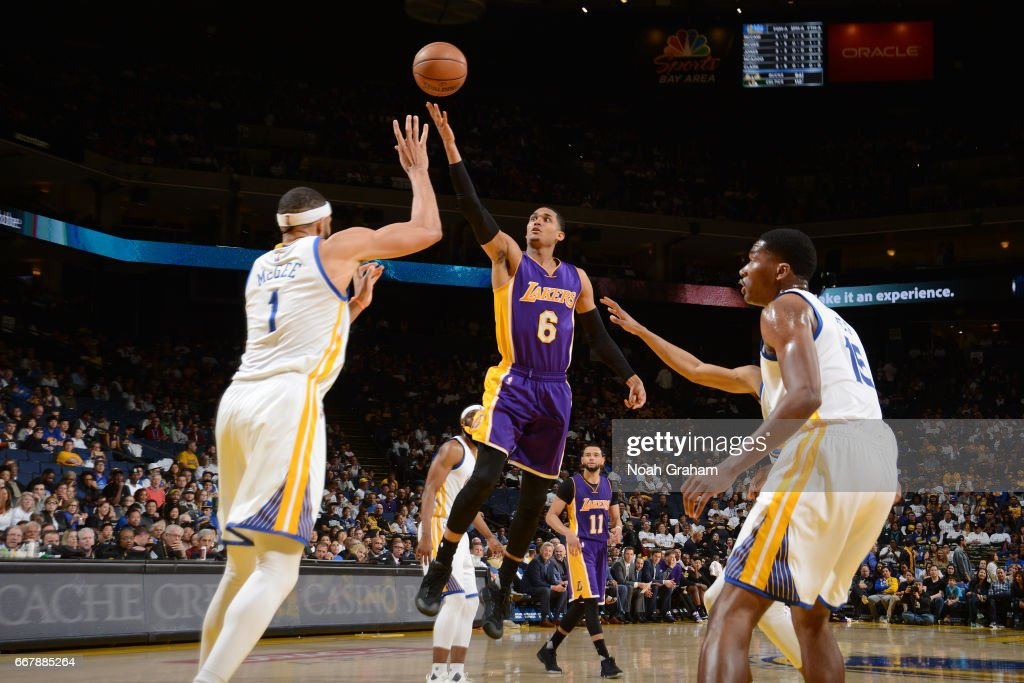 Jordan Clarkson #6 of the Los Angeles Lakers shoots a lay up against the Golden State Warriors on April 12, 2017 at ORACLE Arena in Oakland, California.