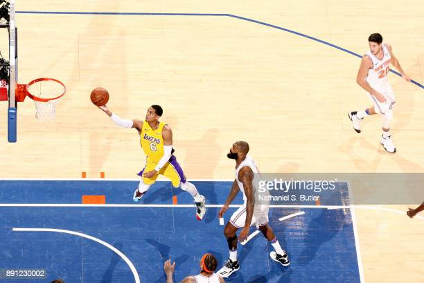 Jordan Clarkson of the Los Angeles Lakers shoots the ball during the game against the New York Knicks on December 12 2017 at Madison Square Garden in...
