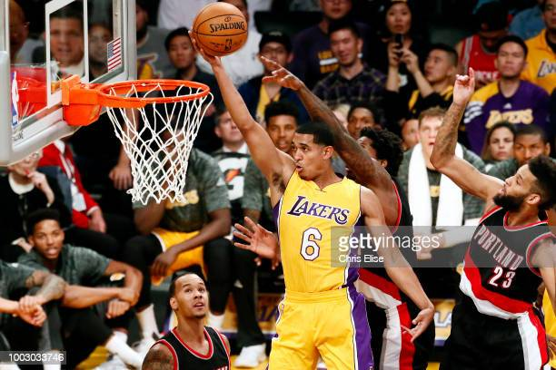 Jordan Clarkson of the the Los Angeles Lakers shoots the ball against the Portland Trail Blazers on October 11 2016 at the Staples Center in Los...