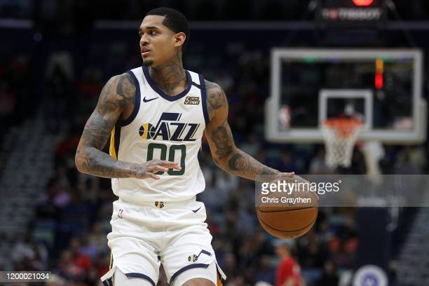 Jordan Clarkson of the Utah Jazz drives the ball up the court against the New Orleans Pelicans at Smoothie King Center on January 16, 2020 in New...
