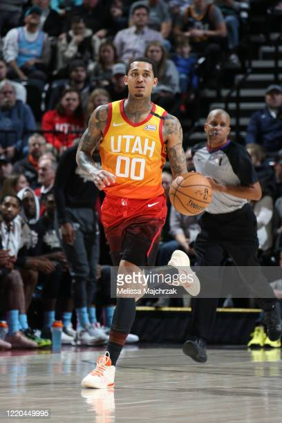 Jordan Clarkson of the Utah Jazz handles the ball during the game against the Miami Heat on February 12, 2020 at Vivint Smart Home Arena in Salt Lake...