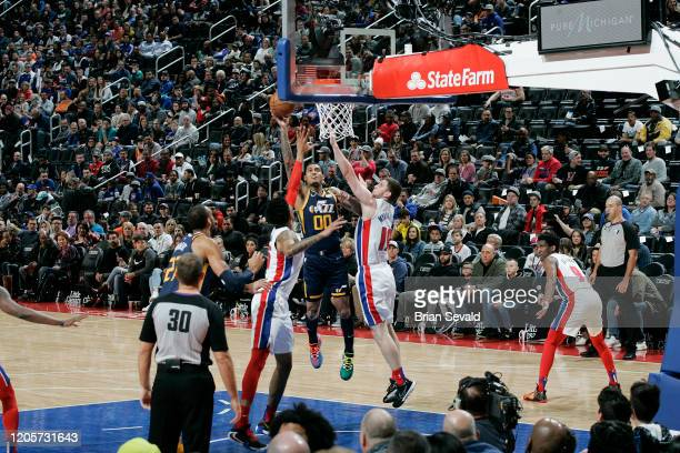 Jordan Clarkson of the Utah Jazz shoots the ball against the Detroit Pistons on March 7 2020 at Little Caesars Arena in Detroit Michigan NOTE TO USER...