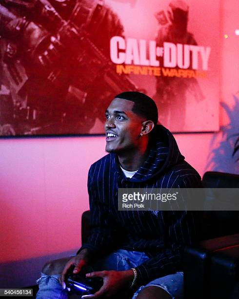 Jordan Clarkson Stops By E3 To Check Out 'Call Of Duty Infinite Warfare' at Los Angeles Convention Center on June 15 2016 in Los Angeles California