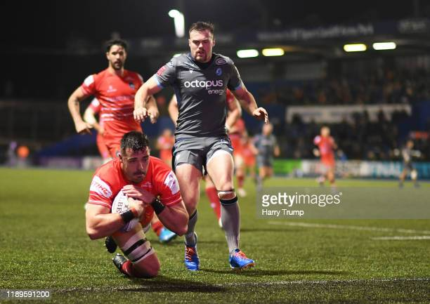Jordan Coghlan of Leicester Tigers goes over to score his sides first try during the European Rugby Challenge Cup Round 2 match between Cardiff Blues...