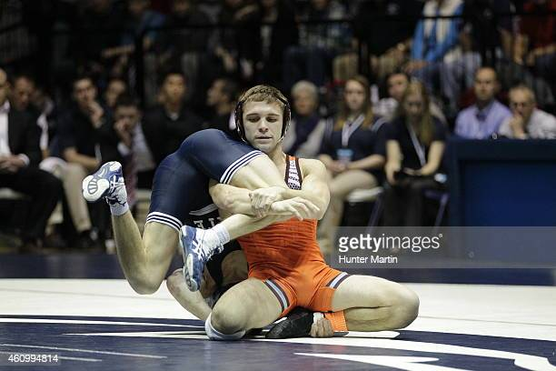 Jordan Conaway of the Penn State Nittany Lions during a match against Joey Dance of the Virginia Tech Hokies on December 19 2014 at Recreation Hall...