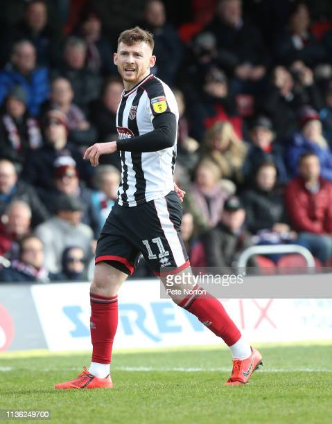 Jordan Cook of Grimsby Town in action during the Sky Bet League Two match between Grimsby Town and Northampton Town at Blundell Park on March 16,...