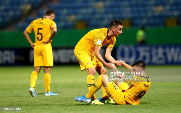 Jordan Courtney Perkins and Noah Botic of Australia react after the FIFA U17 World Cup Brazil 2019 Group B match between Australia and Hungary at...