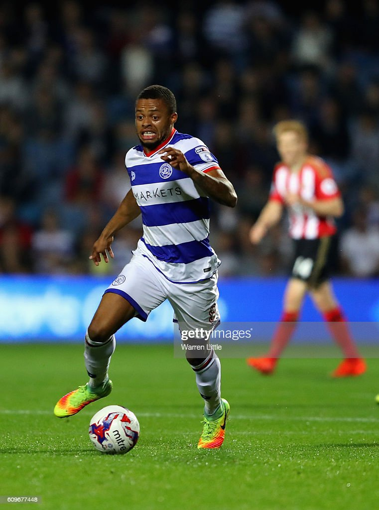Jordan Cousins of Queens Park Rangers in action during the EFL Cup Third Round match between Queens Park Rangers v Sunderland at Loftus Road on September 21, 2016 in London, England.