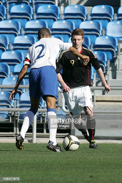 Jordan Cousins of U17 England challenges Maximilian Arnold of U17 Germany during the international friendly match between U17 England and U17 Germany...