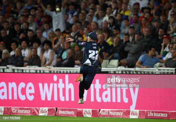Jordan Cox of Kent parries the ball to Matt Milnes to dismiss Lewis Gregory of Somerset during the Vitality T20 Blast Final between Somerset and Kent...
