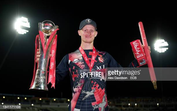Jordan Cox of Kent poses with the Vitality Blast Trophy during the Vitality T20 Blast Final between Somerset and Kent at Edgbaston on September 18,...