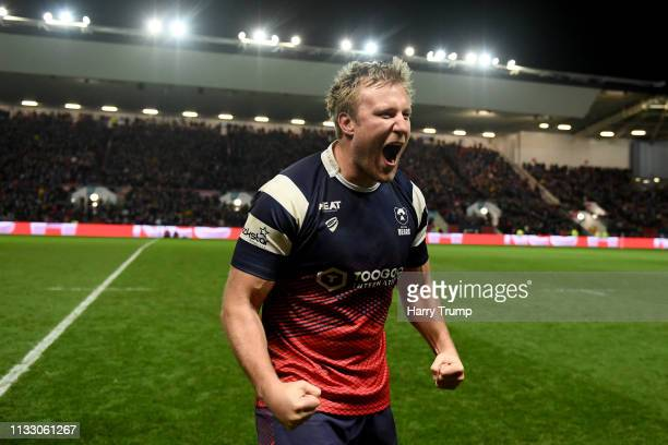 Jordan Crane of Bristol Rugby celebrates victory at the final whistle during the Gallagher Premiership Rugby match between Bristol Bears and...
