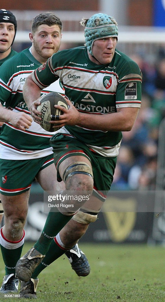 Jordan Crane of Leicester pictured during the Guinness Premiership match between Leicester Tigers and Leeds Carnegie at Welford Road on March 1, 2008 in Leicester, England.