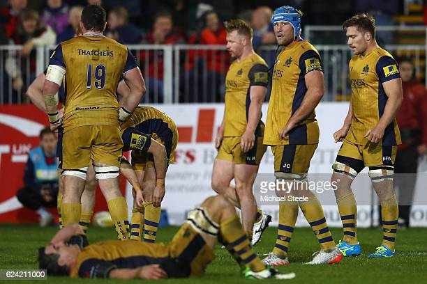 Jordan Crane the captain of Bristol looks on forlornly at the final whistle as his team are defeated 916 during the Aviva Premiership match between...