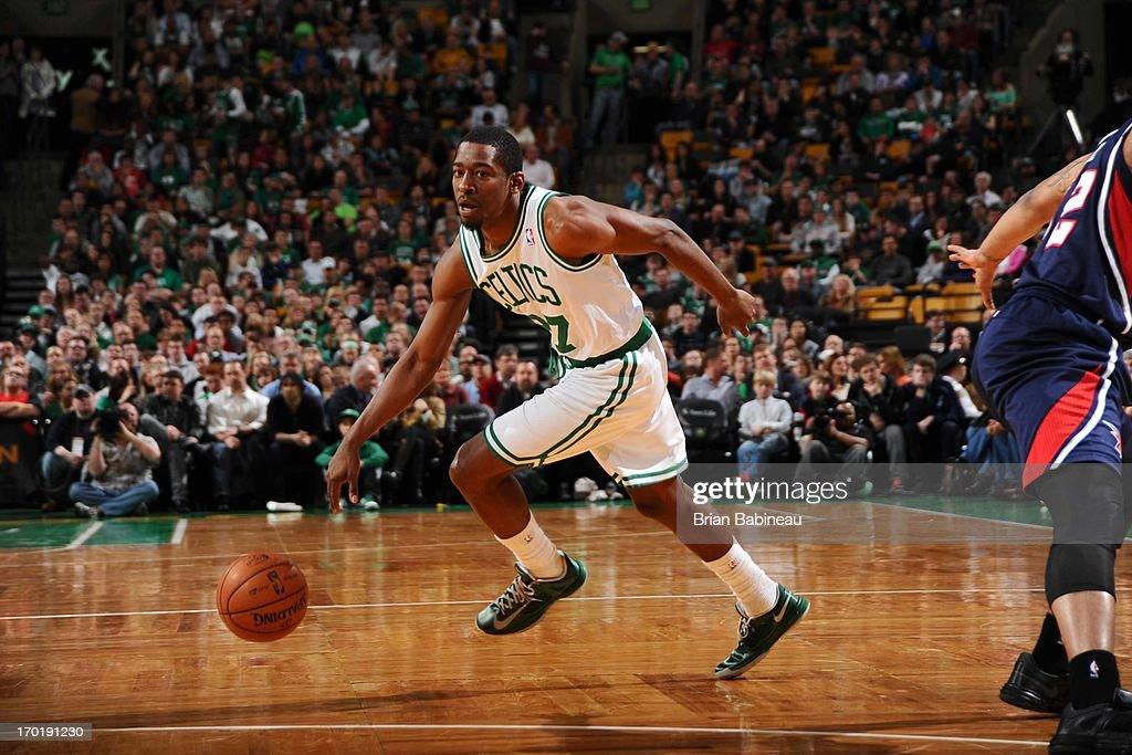 Jordan Crawford #27 of the Boston Celtics drives against the Atlanta Hawks on March 29, 2013 at the TD Garden in Boston, Massachusetts.