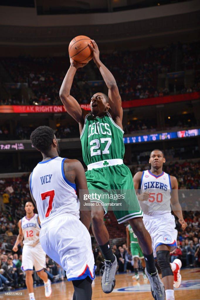 Jordan Crawford #27 of the Boston Celtics drives to the basket against the Philadelphia 76ers on March 5, 2013 at the Wells Fargo Center in Philadelphia, Pennsylvania.