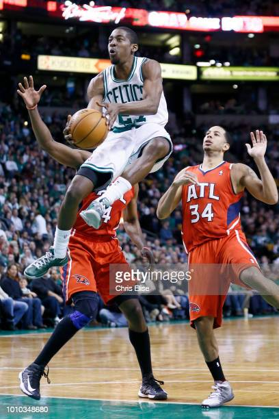 Jordan Crawford of the Boston Celtics goes to the basket against the Atlanta Hawks on March 8 2013 at the TD Garden in Boston Massachusetts USA NOTE...