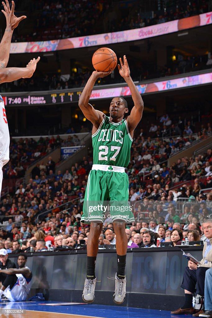 Jordan Crawford #27 of the Boston Celtics takes a shot against the Philadelphia 76ers on March 5, 2013 at the Wells Fargo Center in Philadelphia, Pennsylvania.
