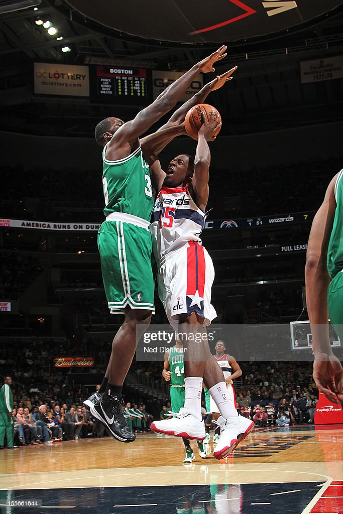 Jordan Crawford #15 of the Washington Wizards shoots the ball against the Boston Celtics at the Verizon Center on November 3, 2012 in Washington, DC.