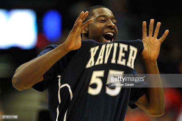 Jordan Crawford of the Xavier Musketeers reacts after defeating the Pittsburgh Panthers during the second round of the 2010 NCAA men's basketball...