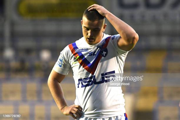 Jordan Crowther of Wakefield Trinity reacts during the Betfred Super League match between Warrington Wolves and Wakefield Trinity at The Halliwell...