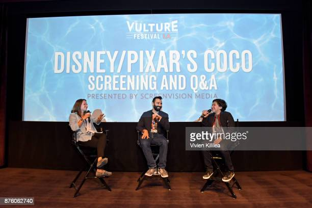 Jordan Crucchiola Adrian Molina and Anthony Gonzalez speak onstage at Pixar's 'COCO' screening and interview presented by Screenvision Media at...