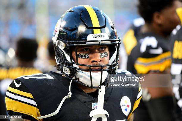Jordan Dangerfield of the Pittsburgh Steelers on the sidelines during their preseason game against the Carolina Panthers at Bank of America Stadium...