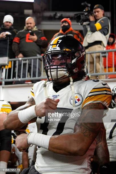 Jordan Dangerfield of the Pittsburgh Steelers prepares to run out on to the field prior to the start of the game against the Cleveland Browns at...