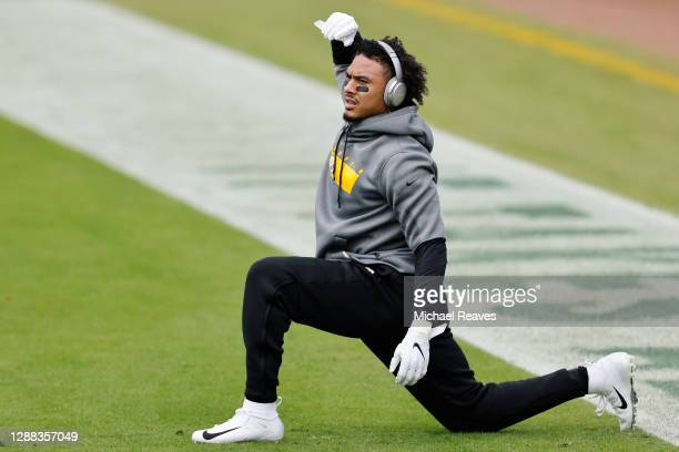 Jordan Dangerfield of the Pittsburgh Steelers stretches prior to the game against the Jacksonville Jaguars at TIAA Bank Field on November 22, 2020 in...