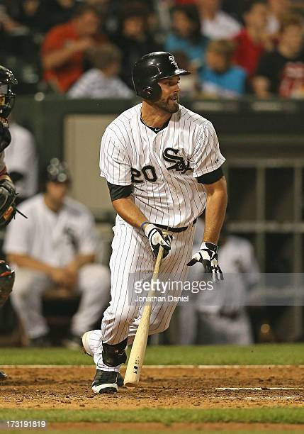 Jordan Danks of the Chicago White Sox bats against the Baltimore Orioles at US Cellular Field on July 3 2013 in Chicago Illinois The Orioles defeated...
