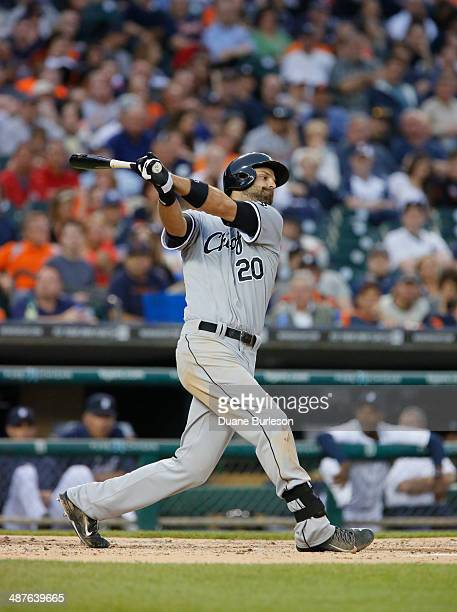 Jordan Danks of the Chicago White Sox bats against the Detroit Tigers at Comerica Park on April 21 2014 in Detroit Michigan