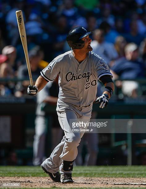 Jordan Danks of the Chicago White Sox bats against the Seattle Mariners at Safeco Field on August 10 2014 in Seattle Washington