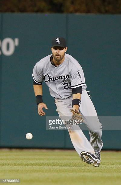 Jordan Danks of the Chicago White Sox fields a fly ball hit by Rajai Davis of the Detroit Tigers at Comerica Park on April 21 2014 in Detroit Michigan